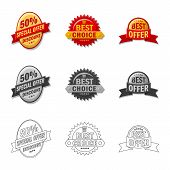 Isolated Object Of Emblem And Badge Icon. Set Of Emblem And Sticker Stock Symbol For Web. poster