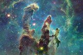 Cosmic Galaxy Background With Nebulae, Stardust And Bright Stars. Elements Of This Image Furnished B poster
