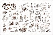 Cooking Food Illustrations Set. Hand Drawn Vector Sketches Of Kitchenware, Tools And Ingredients For poster