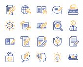 Copywriting Book Line Icons. Set Of Copyright Protection, Signature And Feedback Icons. Typewriter,  poster