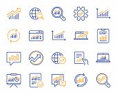 Analytics, Statistics Line Icons. Set Of Chart, Report Document And Graph Icons. Data Analytics, Pre poster