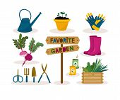Garden Tool Set.vector Illustration Of Gardening Elements: Spade,pitch,plants, Watering Can, Seedlin poster