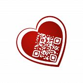 Vector Illustration Of I Love You Qr Code In Red Heart On White Background. Can Be Used As Valentine poster