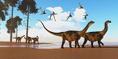 Antarctosaurus Dinosaur Seashore 3d Illustration - A Flock Of Thalassodromeus Reptiles Fly Over A He poster