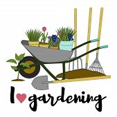Vector Hand Drawn Gardening Banners With Tools, Plants, Flowers, Cart, Shovel, Rake And Lettering Ph poster
