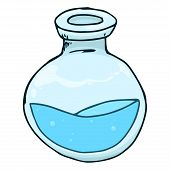 Jar With Blue Liquid And Bubbles Hand Drawn. Vector Illustration Of A Jar. Jar With Bubbles Icon. poster