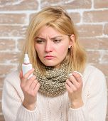 Girl Sick Person Hold Nasal Drops And Tissue. Allergy Concept. Home Treatment. Effective Nasal Spray poster