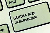 Conceptual Hand Writing Showing Creative And Ideas Unlimited Edition. Business Photo Showcasing Brig poster