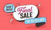 Final Big Sale Discount Line Badge. Mega Price Offer Red Poster Layout. Marketing Promotion Special  poster
