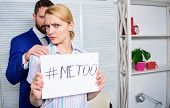 Workplace Bullying Concept. Manager Conflict. Office Colleagues Relations. Metoo As A New Movement. poster