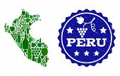 Vector Collage Of Wine Map Of Peru And Best Grape Wine Grunge Seal Stamp. Map Of Peru Collage Compos poster