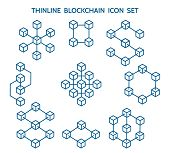 Blockchain Line Icons. Vector Block Chain Linear Icon Set, Structural Data And Events Blocks Technol poster