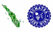 Vector Collage Of Wine Map Of Sumatra Island And Best Grape Wine Grunge Stamp. Map Of Sumatra Island poster