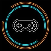 Video Game Controller Icon - Joystick, Game Play Icon. Thin Line Pictogram - Outline Stroke poster