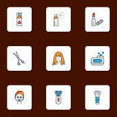 Salon Icons Colored Line Set With Shaving Brush, Scissors, Shaving Cream And Other Moisturizer Eleme poster