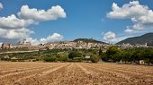 View to the town of Assisi, Umbria, Italy with Papal Basilica of Saint Francis of Assisi on the left poster