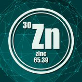 Zinc Chemical Element. Sign With Atomic Number And Atomic Weight. Chemical Element Of Periodic Table poster