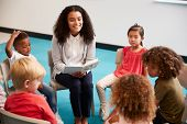 Young female school teacher reading a book to kindergarten children, sitting on chairs in a circle i poster