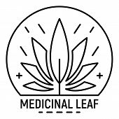 Cannabis Medicine Leaf Logo. Outline Cannabis Medicine Leaf Logo For Web Design Isolated On White Ba poster