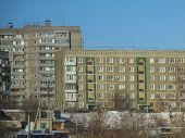 Apartment Buildings. Residential Area. Ust-kamenogorsk (kazakhstan). Blue Sky. Apartment Block. City poster