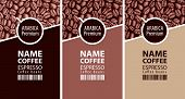 Vector Set Of Three Coffee Bean Labels. Coffee Labels With Coffee Cup And Bar Code On The Background poster