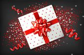 Giftbox With Red Bow Vector Realistic. Confeti And Garland Sparkle. Product Placement Mock Up. Desig poster