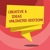 Text Sign Showing Creative And Ideas Unlimited Edition. Conceptual Photo Bright Thinking Limitless C poster