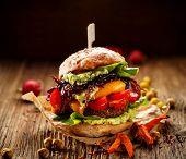 Vegan Burger, Carrot Burger, Homemade Burger With Carrot Cutlet, Grilled Bell Pepper, Cherry Tomatoe poster