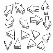 Illustration Of Some Handdrawn Arrows And Triangles. poster