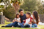 Happy young Hispanic family sitting together on the grass in the park, looking at each other poster