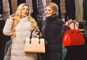 Women In Fur Coats With Bags In Fur Shop. Winter Clothing And Glamour Concept. Ladies With Makeup Sh poster