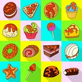 Vector Design Of Confectionery And Culinary Symbol. Collection Of Confectionery And Colorful Vector  poster