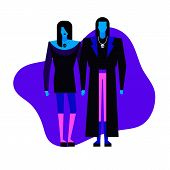 Colorful Flat Characters,subculture Music Genre Apparel Style Concept.flat People,man And Women In G poster