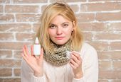 Girl Sick Person Hold Nasal Drops And Tissue. Allergy Concept. Home Treatment. Nasal Drops Plastic B poster
