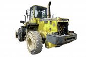 Isolated Tractor On White Background, Yellow Truck Car, Clipping Path Truck, Industrial Car poster