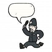 stock photo of truncheon  - cartoon policeman giving chase - JPG