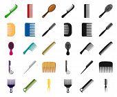 Vector Illustration Of Brush And Hair Logo. Collection Of Brush And Hairbrush Stock Vector Illustrat poster