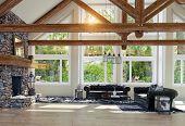 modern luxury house interior. 3d rendering design poster