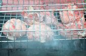 Preparation On Bbq. Dish With Roasted Meat On Abstract Background. Hot Tasty Smokey Barbecue Meal At poster