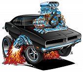 Classic Sixties Style American Muscle Car, Huge Chrome Motor, Popping A Wheelie, Cartoon Vector Illu poster