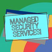 Text Sign Showing Managed Security Services. Conceptual Photo Approach In Analysisaging Clients Secu poster
