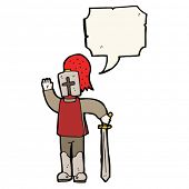 pic of arthurian  - cartoon knight with speech bubble - JPG