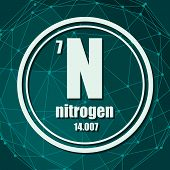 Nitrogen Chemical Element. Sign With Atomic Number And Atomic Weight. Chemical Element Of Periodic T poster