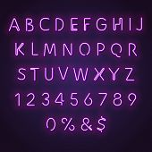 Alphabet Neon Sign. Glowing Neon Letters And Numbers. Letters Glowing In Retro Colors. Realistic Ben poster