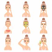 Attractive Young Woman Caring For Her Face And Skin With Cosmetics Set, Beauty Routine Steps, Facial poster