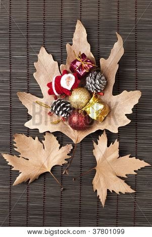 Sycamore Leaves And Christmas Ornaments