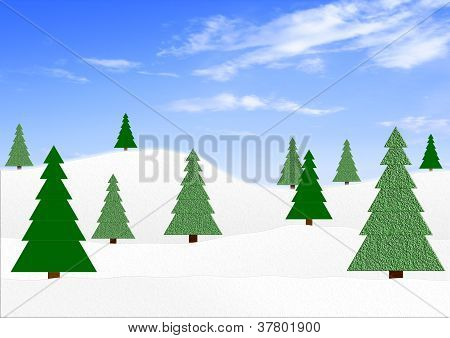 Winter landscape with fir-trees