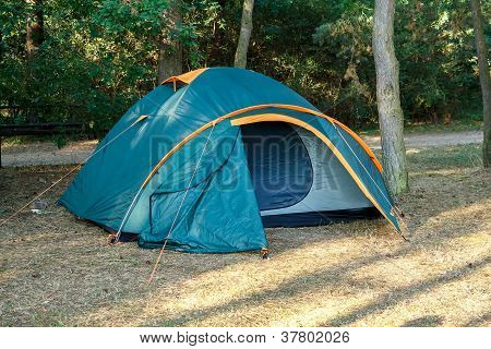 Camping Tents At Campground During Daytime In Woods
