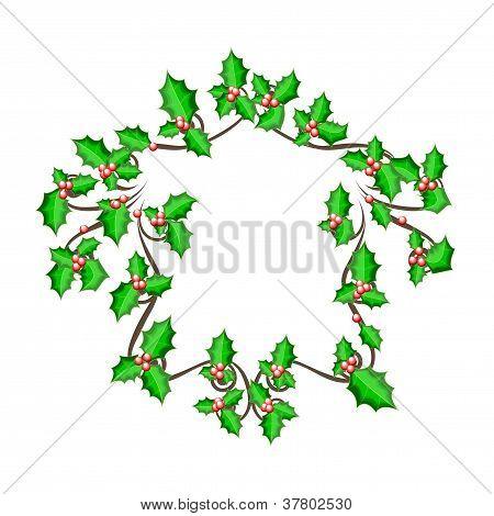 Christmas Holly Frame - Vector Background