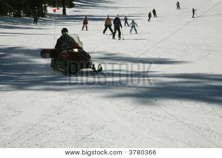 Skidoo On Ski Tracks